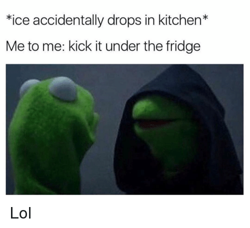 Funny, Lol, and Ice: *ice accidentally drops in kitchen*  Me to me: kick it under the fridge Lol