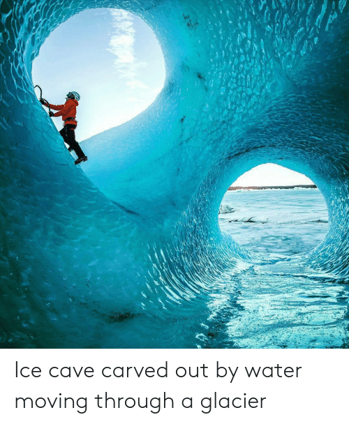 Water, Ice, and Glacier: Ice cave carved out by water moving through a glacier