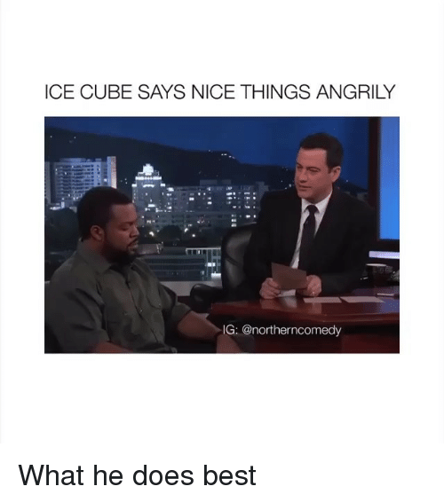 Ice Cube, Best, and Nice: ICE CUBE SAYS NICE THINGS ANGRILY  IG:@northerncomedy What he does best