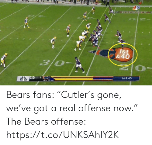 """Sports, Bears, and Got: ICKO  1st  &40  3/0  G 7C  1st &40 Bears fans: """"Cutler's gone, we've got a real offense now.""""   The Bears offense: https://t.co/UNKSAhIY2K"""