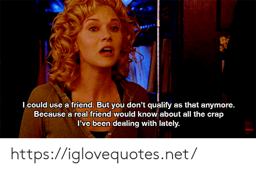 lately: Icould use a friend. But you don't qualify as that anymore.  Because a real friend would know about all the crap  Pve been dealing with lately. https://iglovequotes.net/