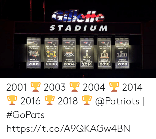New England Patriots: ie  STADIUM  NEW ENGLAND  PATRIOTS  NEW ENGLAND  PATRIOTS  NEW ENGLAND  PATRIOTS  NEW ENGLAND  PATRIOTS  NEW ENGLAND  PATRIOTS  NEW ENGLAND  PATRIOTS  NSUPER  LAII  LAI  XXVII  BOWL  XLIX  P e  WORLD  CHAMPIONS  2001  WORLD  CHAMPIONS  WORLD  CHAMPIONS  WORLD  CHAMPIONS  WORLD  CHAMPIONS  WORLD  CHAMPIONS  2003  2004  2018  2014  2016 2001 🏆 2003 🏆 2004 🏆 2014 🏆 2016 🏆 2018 🏆  @Patriots | #GoPats https://t.co/A9QKAGw4BN