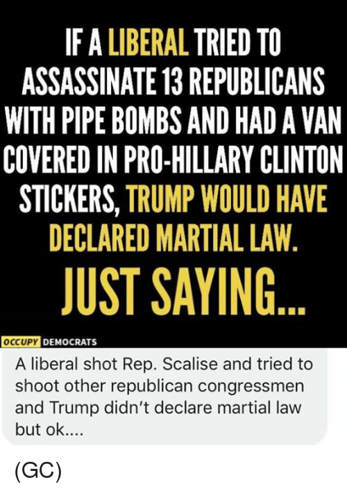 Hillary Clinton, Memes, and Trump: IF A LIBERAL TRIED TO  ASSASSINATE 13 REPUBLICANS  WITH PIPE BOMBS AND HAD A VAN  COVERED IN PRO-HILLARY CLINTON  STICKERS, TRUMP WOULD HAVE  DECLARED MARTIAL LAW,  JUST SAYING  OccUPY  DEMOCRATS  A liberal shot Rep. Scalise and tried to  shoot other republican congressmen  and Trump didn't declare martial law  but ok.... (GC)