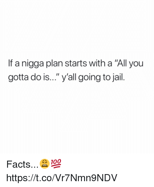 "Facts, Jail, and All: If a nigga plan starts with a ""All you  gotta do is..."" y'all going to jail. Facts...😩💯 https://t.co/Vr7Nmn9NDV"