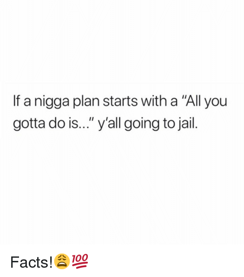 "Facts, Jail, and Hood: If a nigga plan starts with a ""All you  gotta do is..."" y'all going to jail. Facts!😩💯"