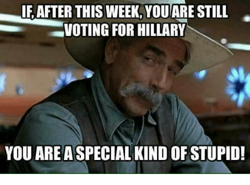 Memes, Stupidity, and 🤖: IF AFTER THIS WEEK, YOU ARE STILL  VOTING FOR HILLARY  YOU AREA  SPECIAL KIND OF STUPID!