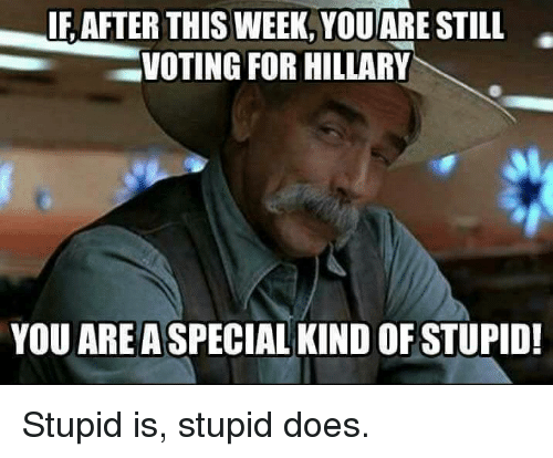 Memes, 🤖, and Stupider: IF AFTER THIS WEEK, YOU  STILL  VOTING FOR HILLARY  YOU ARE A SPECIAL KIND OF STUPID! Stupid is, stupid does.