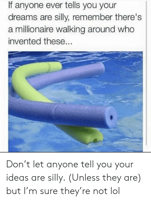 Lol, Dreams, and Who: If anyone ever tells you your  dreams are silly, remember there's  a millionaire walking around who  invented these... Don't let anyone tell you your ideas are silly. (Unless they are) but I'm sure they're not lol