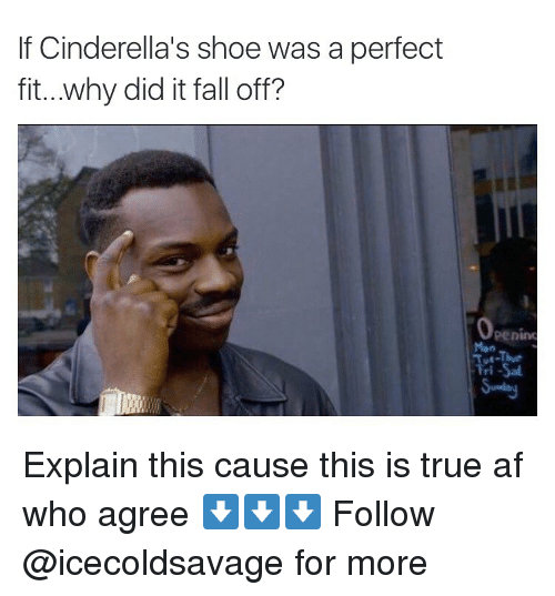 Dank,  Falling Off, and  Perfectly Fit: If Cinderella's shoe was a perfect  fit...why did it fall off? Explain this cause this is true af who agree ⬇️⬇️⬇️ Follow @icecoldsavage for more