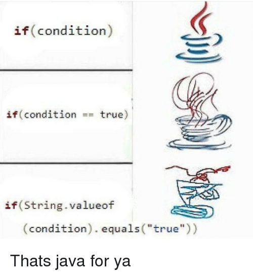 """True, Java, and String: if(condition)  if(condition  true)  ==  if(String.valueof  (condition). equals(""""true)) Thats java for ya"""