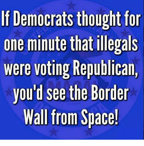 Memes, Space, and Thought: If Democrats thought fo  one minute that illegals  were voting Republican,  you d see the Border  Wall from Space!