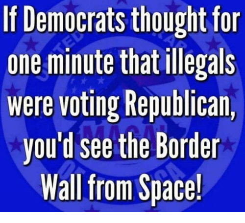 Memes, Space, and Thought: If Democrats thought for  one minute that illegals  were voting Republican,  you'd see the Border  Wall from Space!