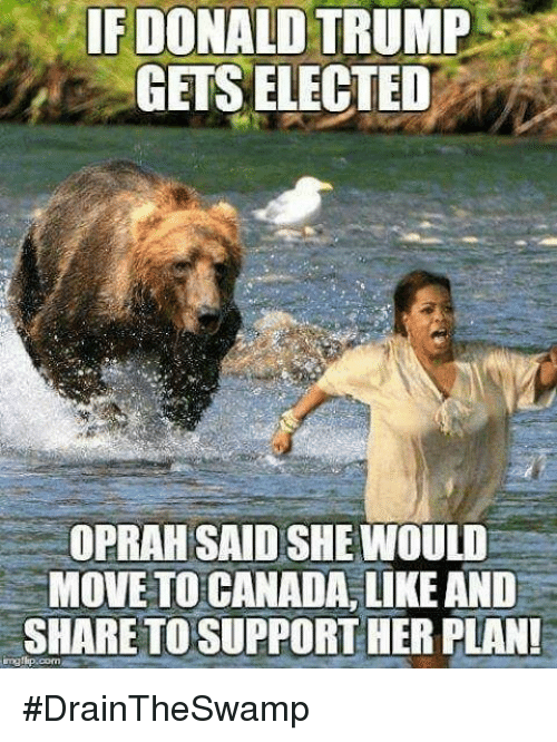Memes, 🤖, and Move: IF DONALD TRUMP  GETS ELECTED  OPRAH SAID SHE WOULD  MOVE TO CANADA, LIKE AND  SHARETOSUPPORTHER PLAN! #DrainTheSwamp