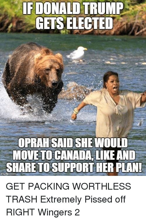 Donald Trump, Oprah Winfrey, and Trash: IF DONALD TRUMP  GETS ELECTED  OPRAH SAID SHE WOULD  MOVE TO CANADA,LIKE AND  SHARE TO SUPPORT HER PLAN  ingflip.com GET PACKING WORTHLESS TRASH  Extremely Pissed off RIGHT Wingers 2