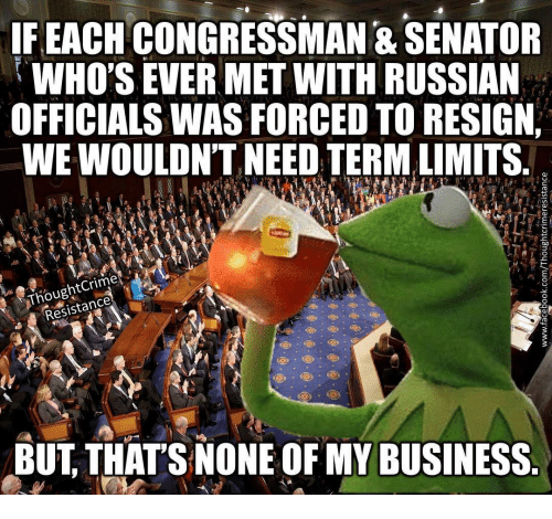 Memes, 🤖, and Russians: IF EACH CONGRESSMAN & SENATOR  WHO'S EVER MET WITH RUSSIAN  OFFICIALSWASFORCED TO RESIGN  WEWOULDN'T NEED TERMALIMITS  Resistance  BUT THAT'S NONE OF MY BUSINESS