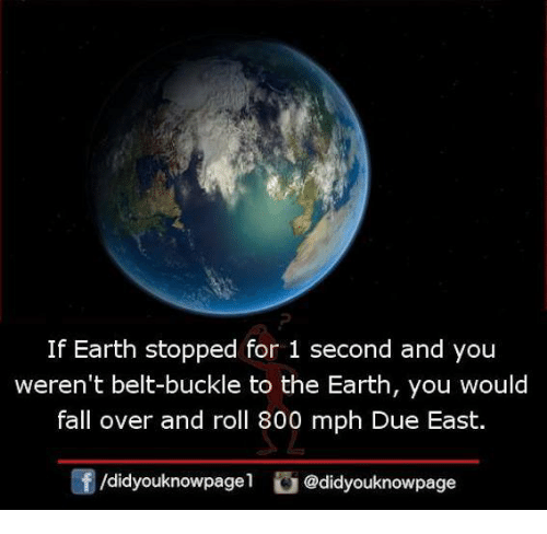 fall over: If Earth stopped for 1 second and you  weren't belt-buckle to the Earth, you would  fall over and roll 800 mph Due East.  /didyouknowpagel@didyouknowpage