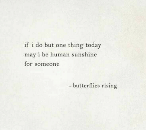 Today, Human, and Sunshine: if i do but one thing today  may i be human sunshine  for someone  - butterflies rising
