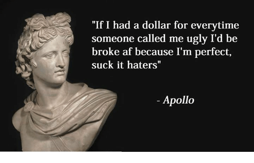 """Suckes: """"If I had a dollar for everytime  someone called me ugly I'd be  broke af because I'm perfect,  suck it haters""""  Apollo"""