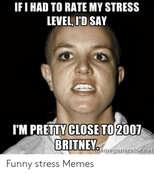 Funny Stress Memes: IF I HAD TO RATE MY STRESS  LEVEL,ID SAY  'M PRETTY CLOSE TO 2007  BRITNEY  Hemegernerator.net Funny stress Memes