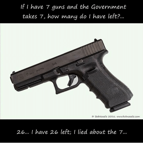 Guns, Memes, and Government: If I have 7 guns and the Government  takes 7, how many do I have letfet?  98  & BobNoodle 2016; wwwbobnoodle.com  26.. I have 2o left; I lied about the 7.