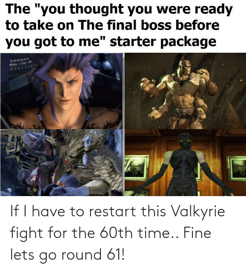 valkyrie: If I have to restart this Valkyrie fight for the 60th time.. Fine lets go round 61!