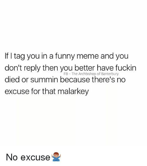Funny, Meme, and British: If I tag you in a funny meme and you  don't reply then you better have fuckin  died or summin because there's no  excuse for that malarkey  FB The Archbishop of Banterbury No excuse🙅🏽♂️