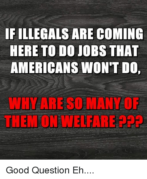 Memes, Good, and Jobs: IF ILLEGALS ARE COMING  HERE TO DO JOBS THAT  AMERICANS WON'T DO,  WHY ARE SO MANY O  THEM ON WELFARE P2 Good Question Eh....