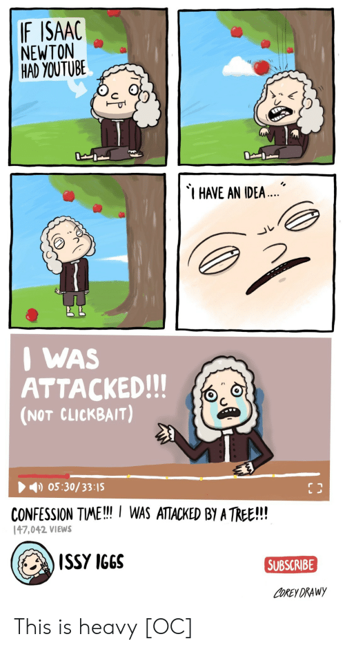 youtube.com, Tree, and Isaac Newton: IF ISAAC  NEWTON  HAD YOUTUBE  HAVE AN IDEA  I WAS  ATTACKED!!!  (NOT CLICKBAIT)  05:30/33:15  CONFESSION TME!! WAS ATACKED BY A TREE!!!  47,042 VIEWS  ISSY IGGS  SUBSCRIBE  COREY DRAWy This is heavy [OC]
