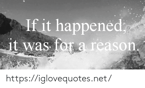 Reason, Net, and For: If it happened;  it was for a reason.  CHICKENSTRumblr https://iglovequotes.net/