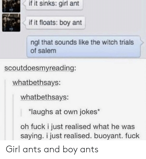 Fuck, Girl, and Jokes: if it sinks: girl ant  if it floats: boy ant  ngl that sounds like the witch trials  of salem  scoutdoesmyreading:  whatbethsays:  whatbethsays:  laughs at own jokes*  oh fuck i just realised what he was  saying. i just realised. buoyant. fuck Girl ants and boy ants