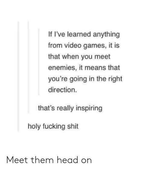 Fucking, Head, and Shit: If I've learned anything  from video games, it is  that when you meet  enemies, it means that  you're going in the right  direction  that's really inspiring  holy fucking shit Meet them head on