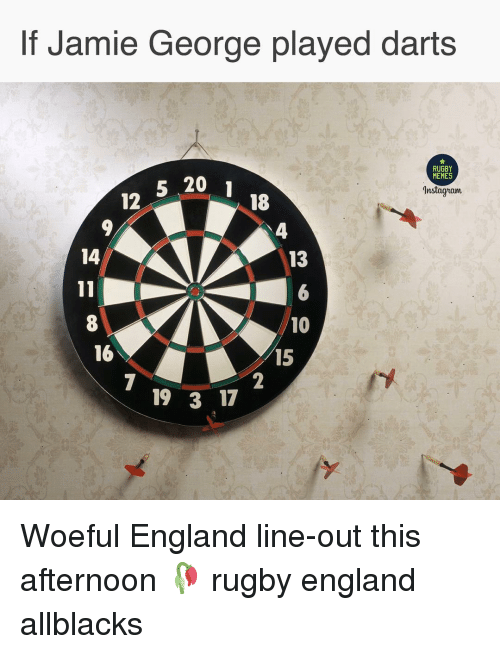 England, Memes, and Rugby: If Jamie George played darts  RUGBY  MEMES  5 20  12  Instagiam  18  4  14  13  8  16  10  15  19 3 17 Woeful England line-out this afternoon 🥀 rugby england allblacks