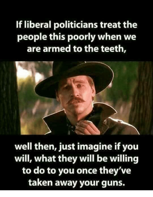 Guns, Memes, and Taken: If liberal politicians treat the  people this poorly when we  are armed to the teeth,  well then, just imagine if you  will, what they will be willing  to do to you once they've  taken away your guns.