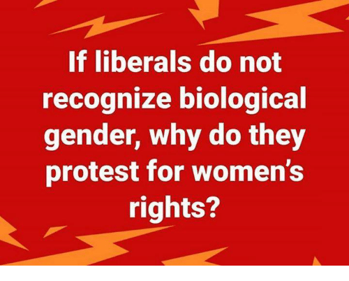 Protest, Gender, and Why: If liberals do not  recognize biological  gender, why do they  protest for women's  rights?