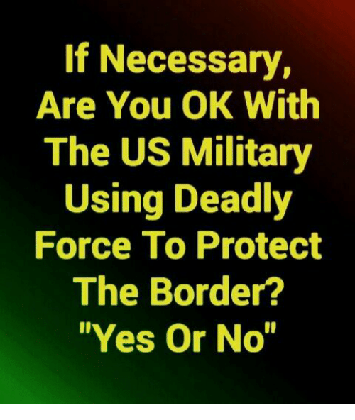 """Memes, Military, and 🤖: If Necessary,  Are You OK With  The US Military  Using Deadly  Force To Protect  The Border?  """"Yes Or No"""