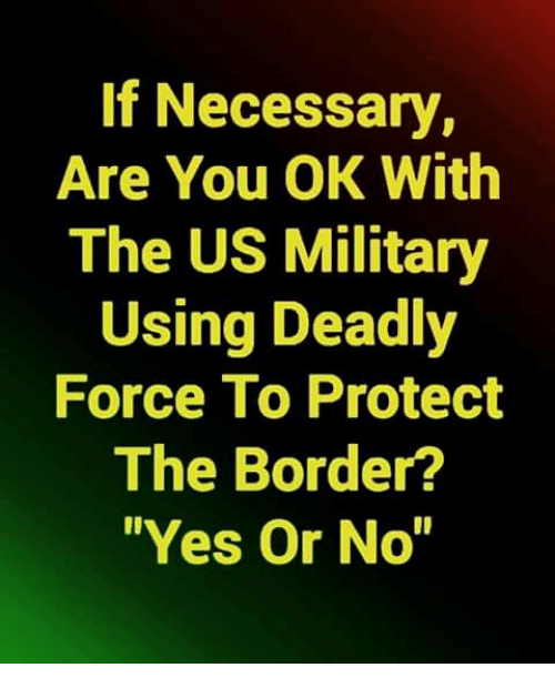 Memes, Military, and 🤖: If Necessary,  Are You OK With  The US Military  Using Deadly  Force To Protect  The Border?  Yes Or No""