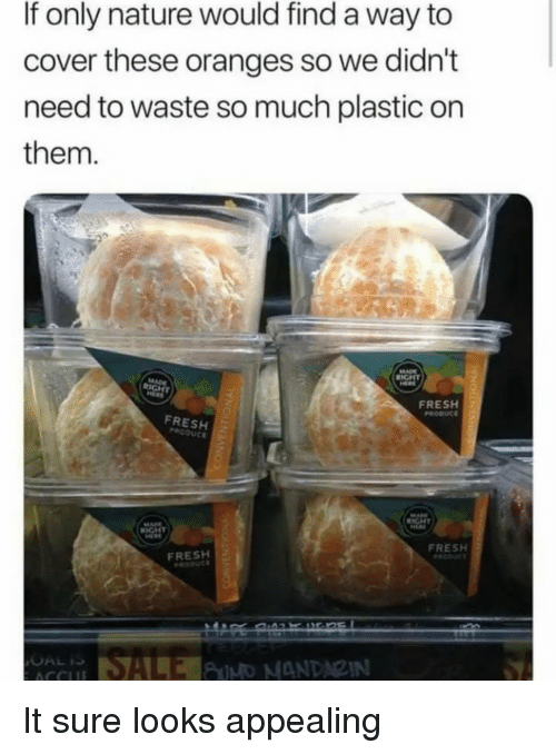 Fresh, Nature, and Plastic: If only nature would find a way to  cover these oranges so we didn't  need to waste so much plastic on  them.  FRESH  FRESH  FRESH  FRESH It sure looks appealing