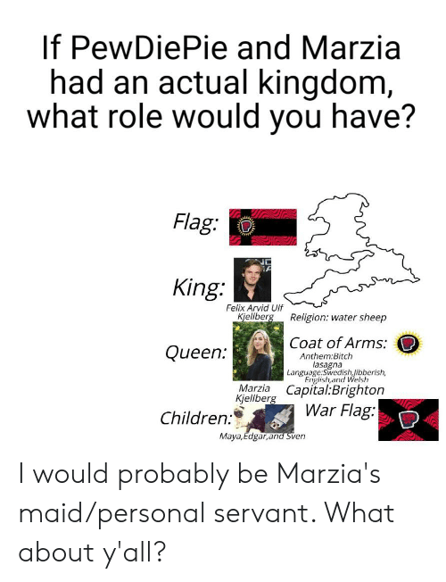 Bitch, Children, and Queen: If PewDiePie and Marzia  had an actual kingdom,  what role would you have?  Flag:  A  King:  Felix Arvid Ulf  Kjellberg  Religion: water sheep  Coat of Arms:  Queen:  Anthem:Bitch  lasagna  Language:SwedishJibberish,  English,and Welsh  Marzia Capital:Brighton  Kjellberg  War Flag:  Children:  Maya,Edgar,and Sven I would probably be Marzia's maid/personal servant. What about y'all?