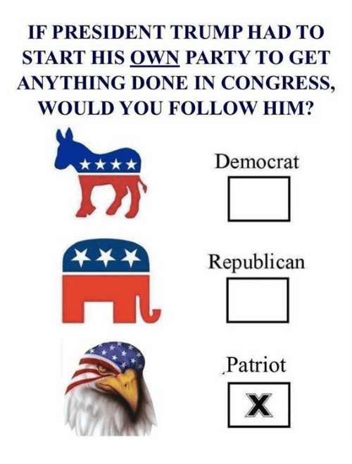 Memes, Party, and Trump: IF PRESIDENT TRUMP HAD TO  START HIS OWN PARTY TO GET  ANYTHING DONE IN CONGRESS,  WOULD YOU FOLLOW HIM?  Democrat  Republican  Patriot