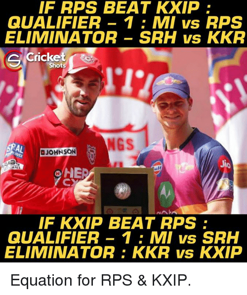 Memes, Cricket, and 🤖: IF RPS BEAT KXIP  QUALIFIER 1 MI vs RPS  ELIMINATOR SRH vs KKR  Cricket  C Shots  NGS  JOHNSON  ANA  HIED  ulf  NAIA  IF KXIP BEAT RPS  QUALIFIER 1 MI vs SRH  ELIMINATOR: KKR vs KXIP Equation for RPS & KXIP.