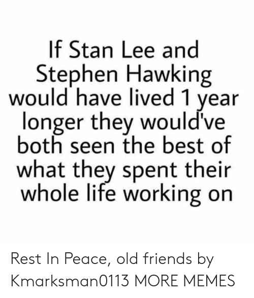 hawking: If Stan Lee and  Stephen Hawking  would have lived 1 year  longer they would've  both seen the best of  what they spent their  whole life working on Rest In Peace, old friends by Kmarksman0113 MORE MEMES