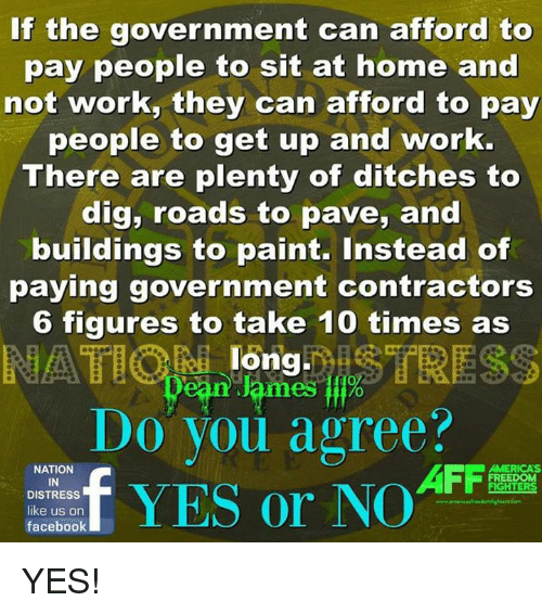 Facebook, Work, and Home: If the government can afford to  pay people to sit at home and  not work, they can afford to pay  people to get up and work.  There are plenty of ditches to  dig, roads to pave, and  buildings to paint. Instead of  paying government contractors  6 figures to take 10 times as  long  ean lames %  Do you agree?  t  、  NATION  IN  DISTRESS  AFFa  MERICA'S  FREEDOM  facebook YES!