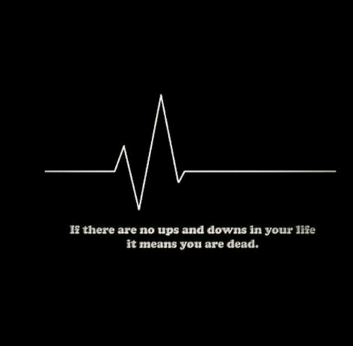 Life, Ups, and Means: If there are no ups and downs in your life  it means you are dead.