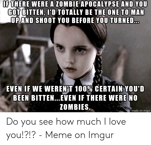 Love, Meme, and Zombies: IF THERE WERE A ZOMBIE APOCALYPSE AND YOU  GOT BITTEN, I'D TOTALLY BE THE ONE TO MAN  UP AND SHOOT YOU BEFORE YOU TURNED...  EVEN IF WE WEREN'T 100% CERTAIN YOU'D  BEEN BITTEN..EVEN IF THERE WERE NO  ZOMBIES  made on imgur