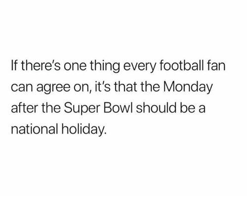 Football, Nfl, and Super Bowl: If there's one thing every football fan  can agree on, it's that the Monday  after the Super Bowl should be a  national holiday.