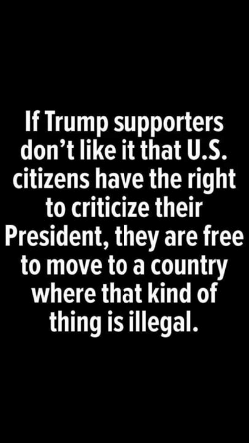 Memes, Free, and Trump: If Trump supporters  don't like it that U.S.  citizens have the right  to criticize their  President, they are free  to move to a country  where that kind of  thing is illegal.