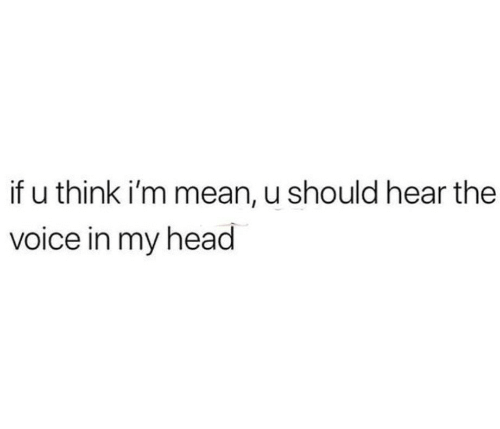 Head, The Voice, and Mean: if u think i'm mean, u should hear the  voice in my head