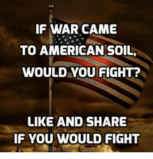 Memes, American, and Fight: IF WAR CAME  TO AMERICAN SOIL,  WOULD YOU FIGHT?  LIKE AND SHARE  IF YOU WOULD FIGHT  One Nation Under