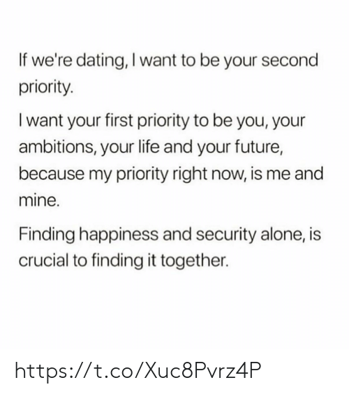Be You: If we're dating, I want to be your second  priority  I want your first priority to be you, your  ambitions, your life and your future,  because my priority right now, is me and  mine.  Finding happiness and security alone, is  crucial to finding it together. https://t.co/Xuc8Pvrz4P
