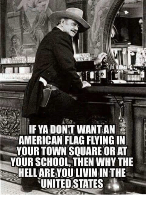 School, American, and American Flag: IF YA DONT WANTAN  AMERICAN FLAG FLYING IN  YOUR TOWN SQUARE OR AT  YOUR SCHOOL, THEN WHY THE  HELLAREYOU LIVIN IN THE  TUNITEDSTATES藩
